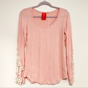 Blush Top w/ Cream Lace Sleeves